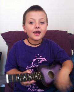 Elijah and his new ukulele
